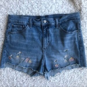 Levi's Floral Embroidered High Rise Jean Shorts